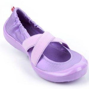 Toddler cross cross metallic lavender shoes